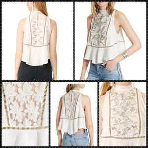 Free People Tops - NWT Free People Ivory Flora Tank